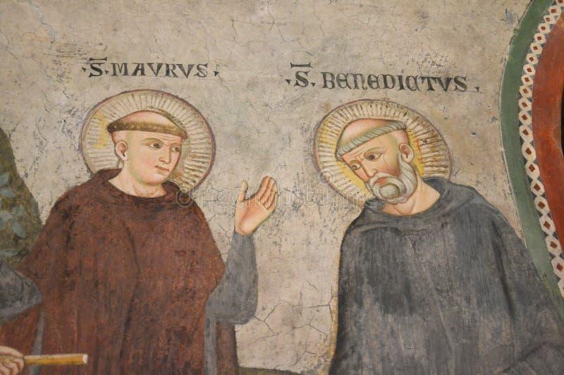 圣徒本尼迪克特壁画  库存图片