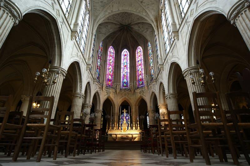 圣徒热尔曼l'Auxerrois,巴黎,法国内部教会  免版税库存图片