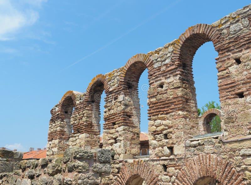 圣徒索非亚古老教会亦称废墟老主教管区在Nessebar,保加利亚 库存图片