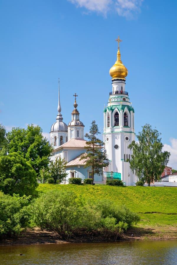 圣徒索非亚大教堂钟楼在沃洛格达州 库存照片