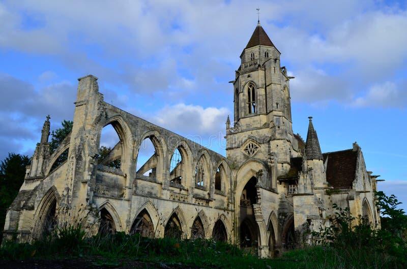 圣徒艾蒂安leVieux凯恩,诺曼底,法国church  免版税库存照片
