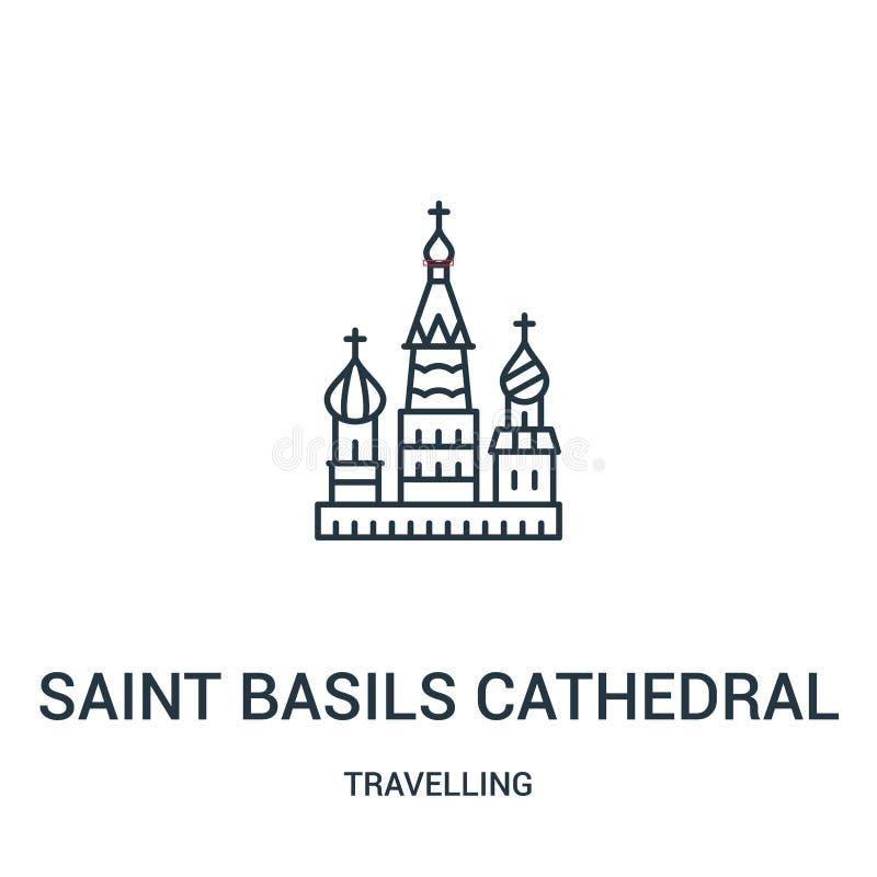 圣徒蓬蒿大教堂从旅行的收藏的象传染媒介 稀薄的线圣徒蓬蒿大教堂概述象传染媒介例证 向量例证