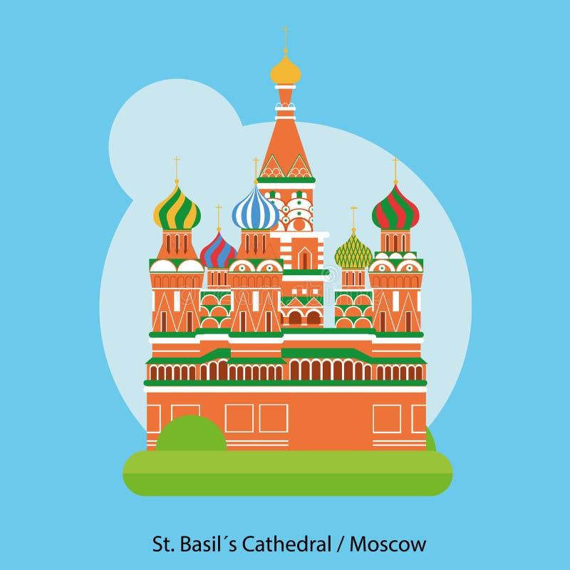 圣徒蓬蒿大教堂传染媒介,莫斯科,俄罗斯 向量例证