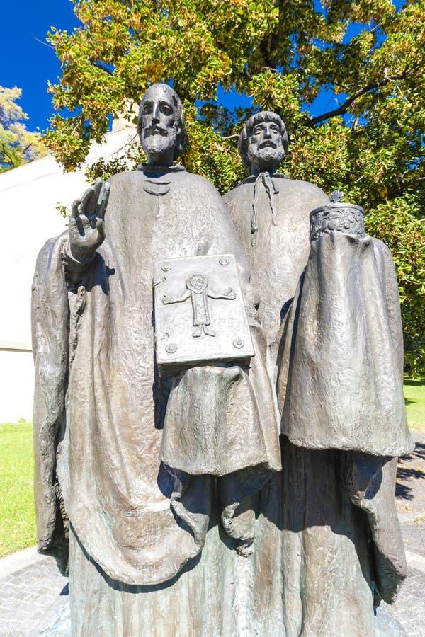 圣徒西里尔和Methodius,尼特拉河,斯洛伐克雕象  免版税图库摄影