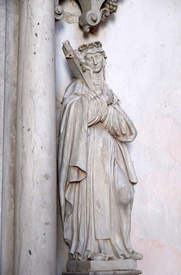 圣徒雕象圣玛丽从良的妓女的法坛的在Bronnbach在Reicholzheim,德国Cistercian修道院里  库存照片