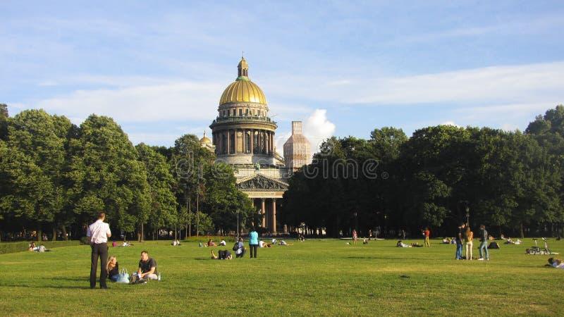 圣徒以撒大教堂在圣彼德堡,俄国 库存照片