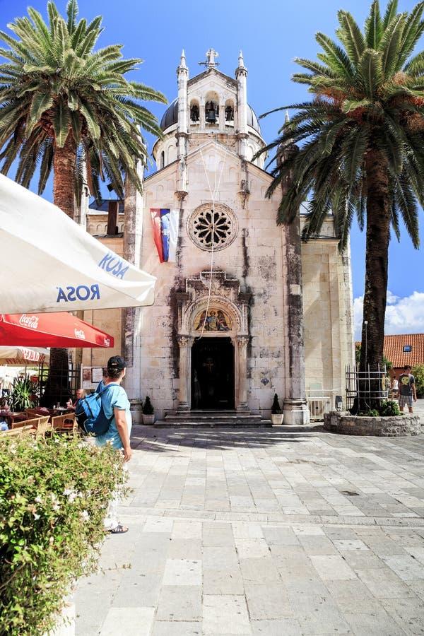 圣徒 迈克尔天使教会在新海尔采格,黑山 库存图片
