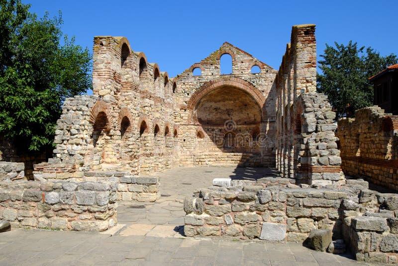 圣徒索非亚教会在Nessebar古城 免版税图库摄影
