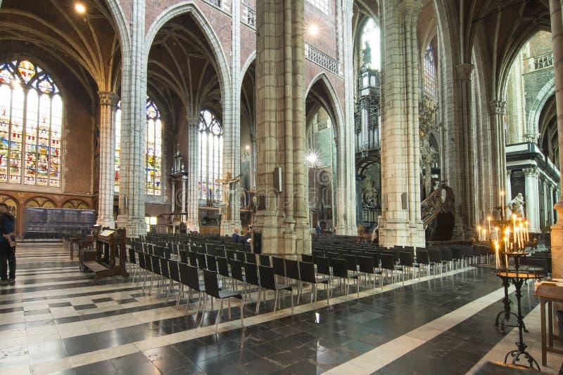 圣徒Bavo ` s大教堂,绅士,比利时内部  免版税图库摄影