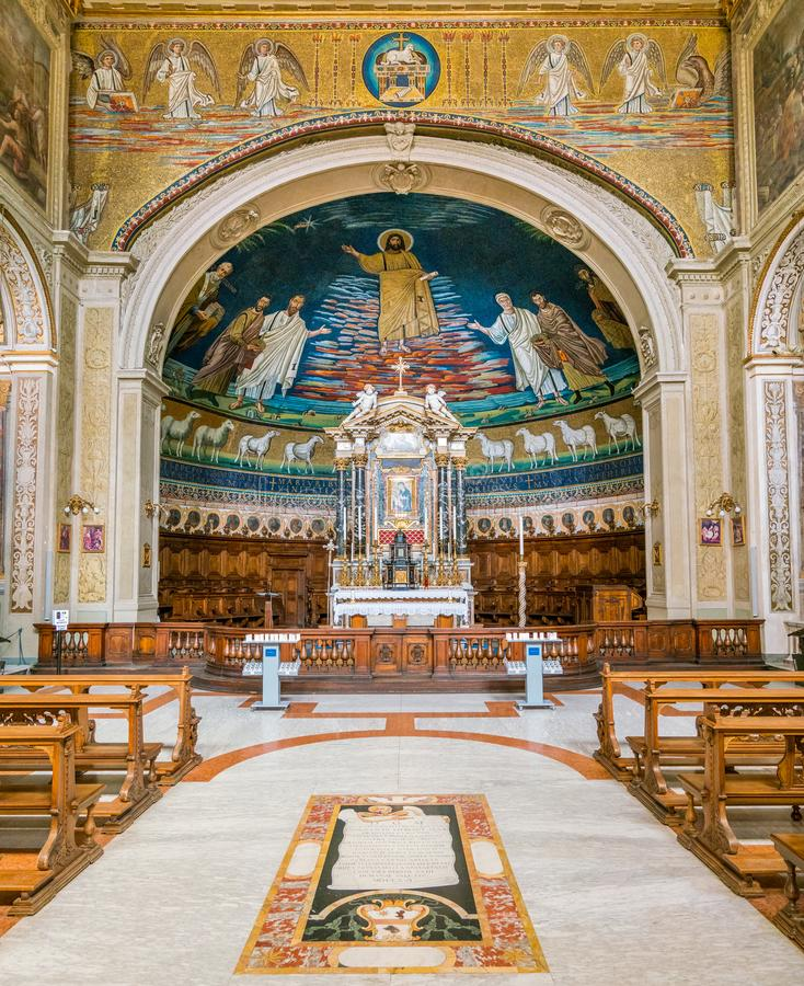 圣徒Cosma e达米亚诺的教会在罗马,意大利 库存照片