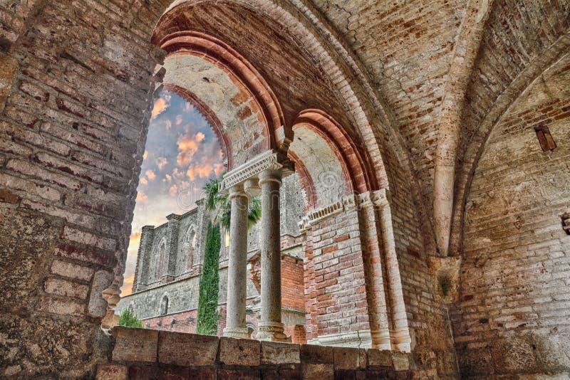 圣徒Galgano修道院在锡耶纳,托斯卡纳,意大利 库存照片