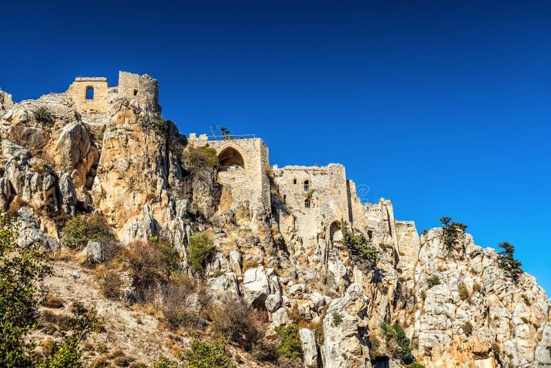 圣徒Hilarion城堡 凯里尼亚山脉,塞浦路斯 图库摄影
