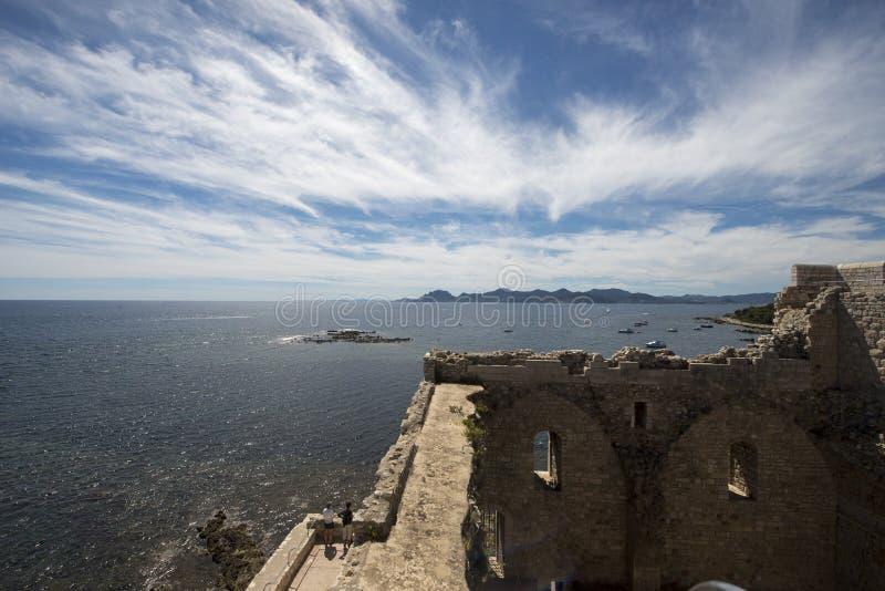 圣徒Honorat被加强的修道院,法国 免版税库存照片