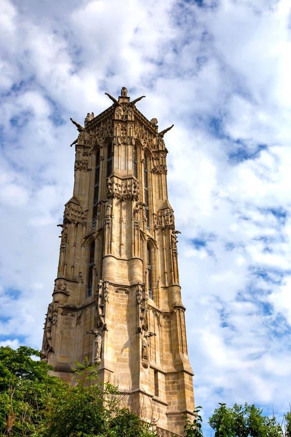 圣徒Jacques塔在巴黎 免版税库存图片