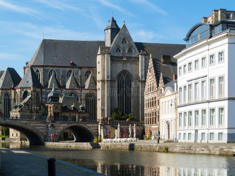 圣徒Michael's教会,绅士,比利时 免版税图库摄影
