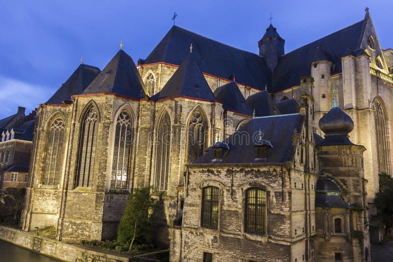 圣徒Michaels教会在跟特在比利时 免版税库存照片