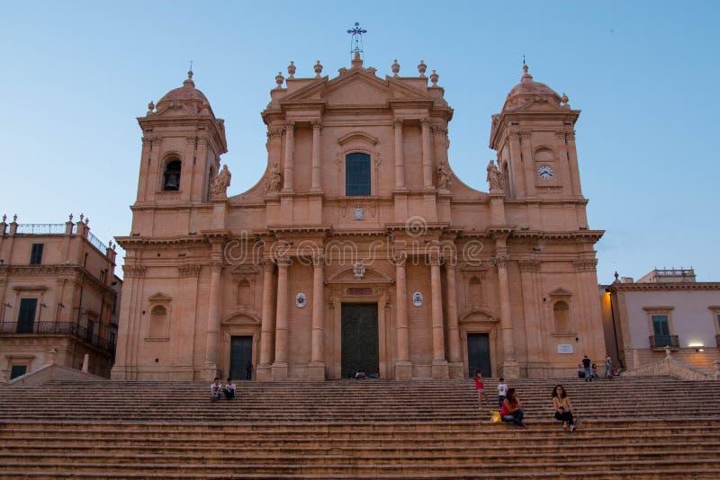 圣徒Nicolà ²大教堂在诺托,西西里岛,意大利 库存照片