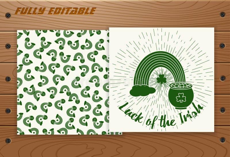圣徒Patricks在木桌上的天卡片 向量例证