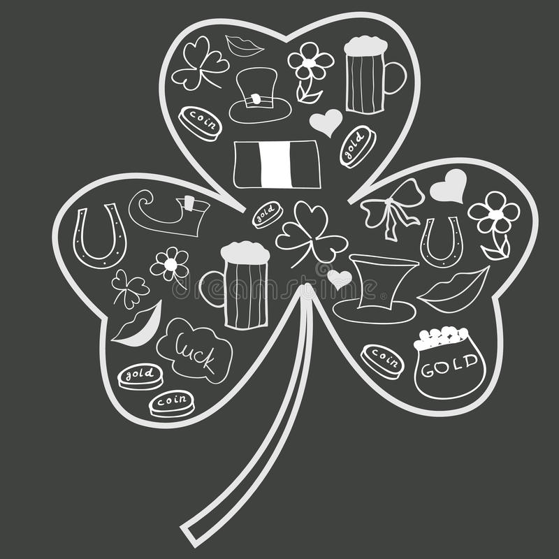 圣徒Patricks天在三叶草形状乱画  免版税库存图片