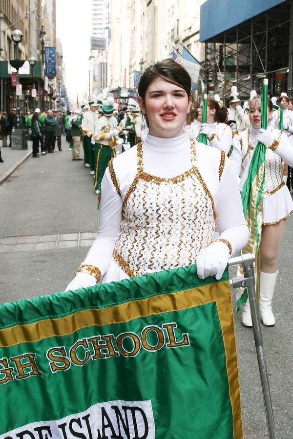 圣徒Patricks天游行的军乐队女队长 免版税库存图片