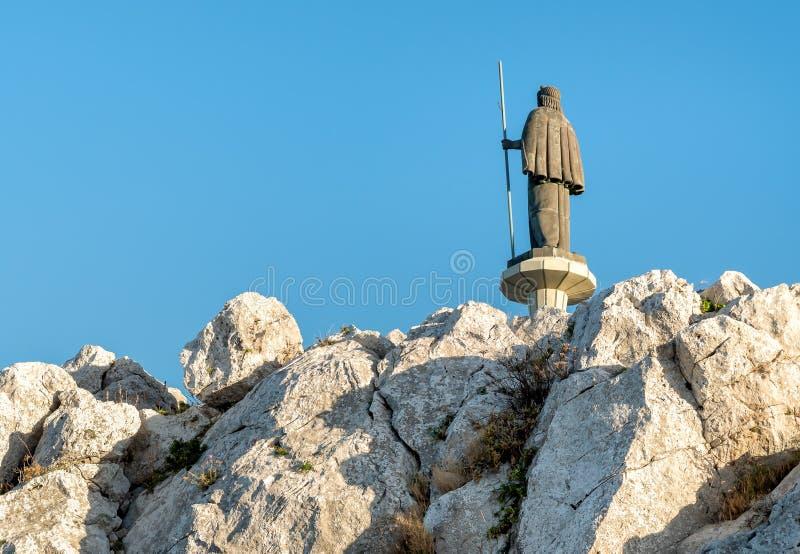 圣徒Rosalia雕象在Monte佩莱格里诺,巴勒莫,西西里岛 图库摄影