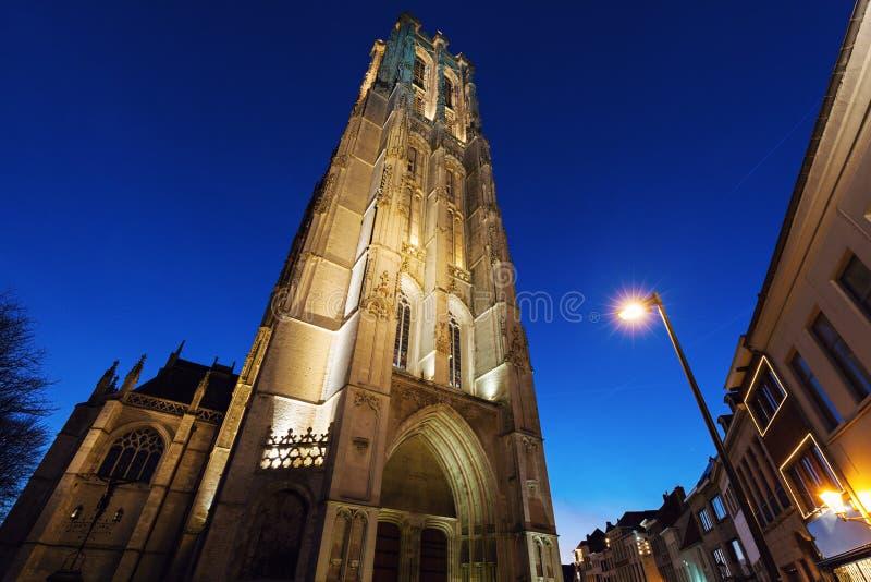 圣徒Rumbold的大教堂在梅赫伦 免版税库存照片