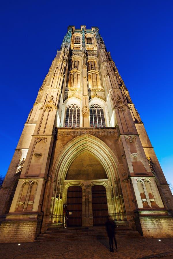 圣徒Rumbold的大教堂在梅赫伦 库存照片