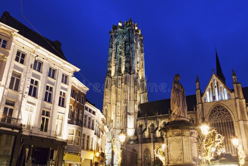 圣徒Rumbold的大教堂在梅赫伦 免版税图库摄影