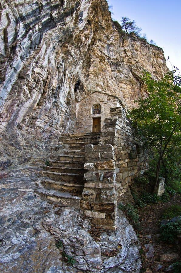 从圣徒Sava偏僻寺院的细节高在山在Studenica修道院附近 免版税库存图片