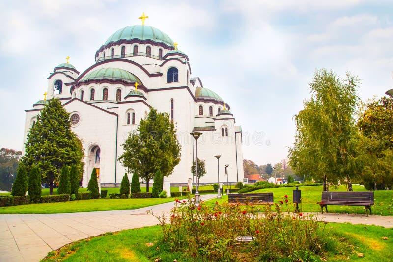 圣徒Sava大教堂在贝尔格莱德,塞尔维亚 库存图片