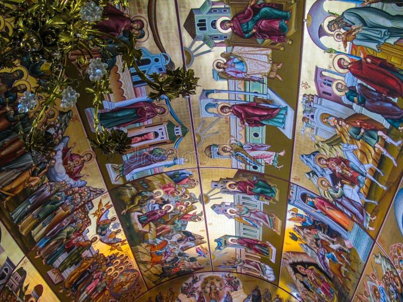 圣徒Savvas东正教天花板,受护神的希腊语 库存照片