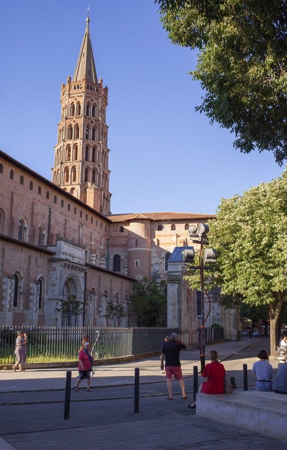 圣徒Sernin大教堂图卢兹市视图 库存照片