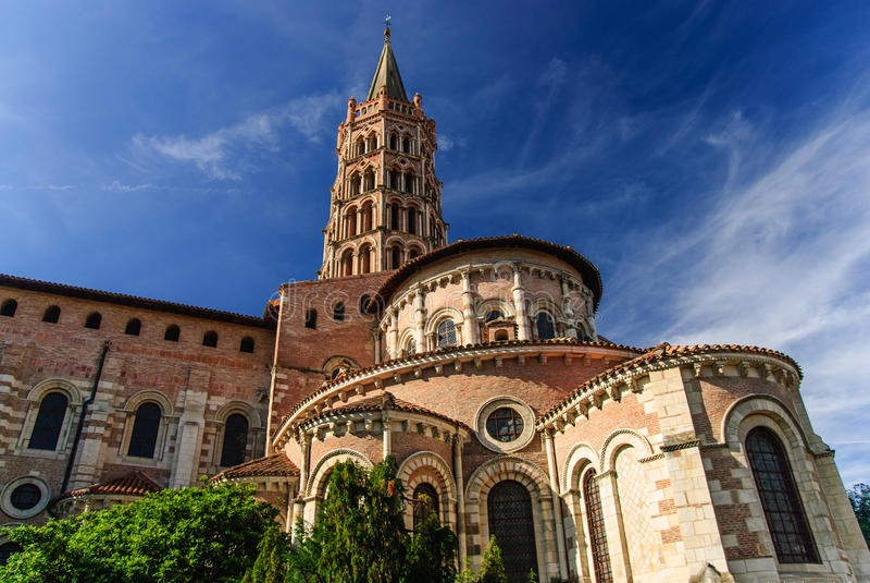 圣徒Sernin罗马式大教堂有钟楼的,图卢兹,法国 免版税库存照片