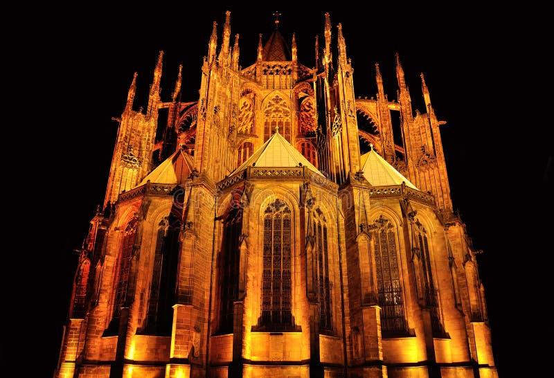 圣徒Vitus大教堂在黑背景的布拉格 免版税库存照片
