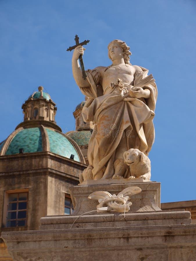 圣徒Vitus, Mazara del Vallo,西西里岛,意大利雕象  库存图片