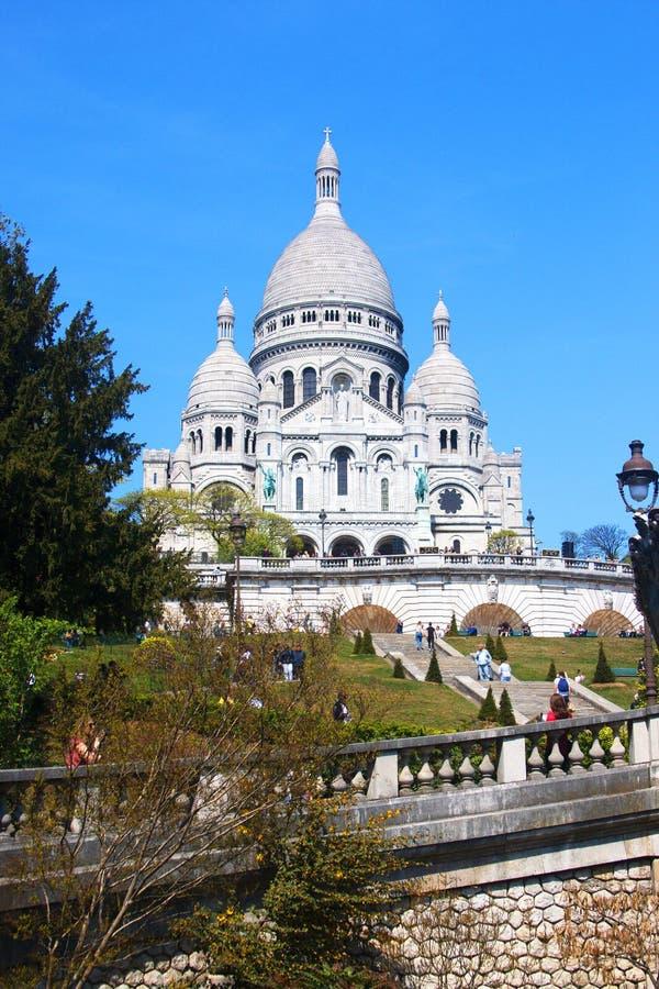 圣心圣殿,Sacre Coeur在蒙马特,巴黎法国 图库摄影