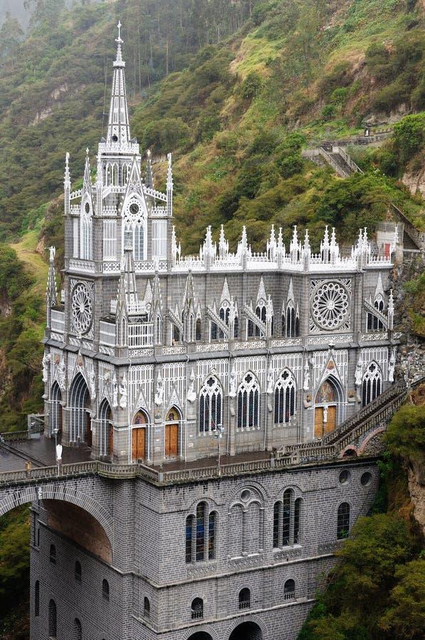 圣所Las Lajas在哥伦比亚 免版税库存照片