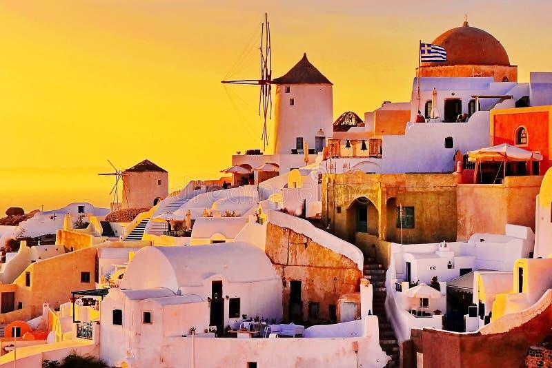 圣托里尼日落,希腊 免版税库存图片