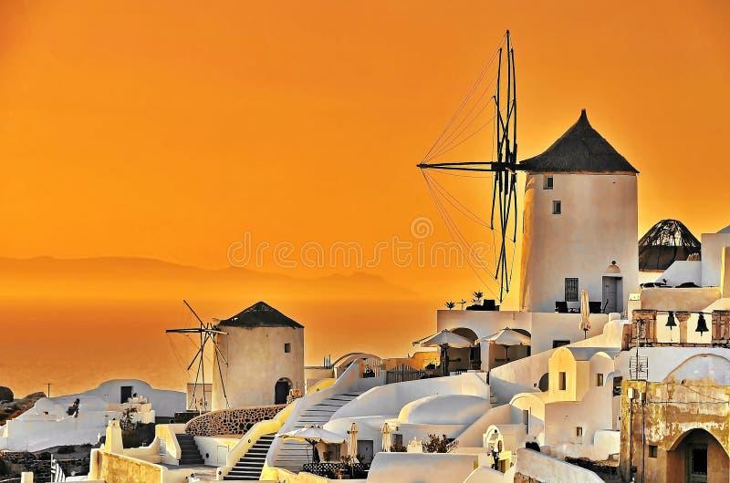 圣托里尼日落,希腊 图库摄影