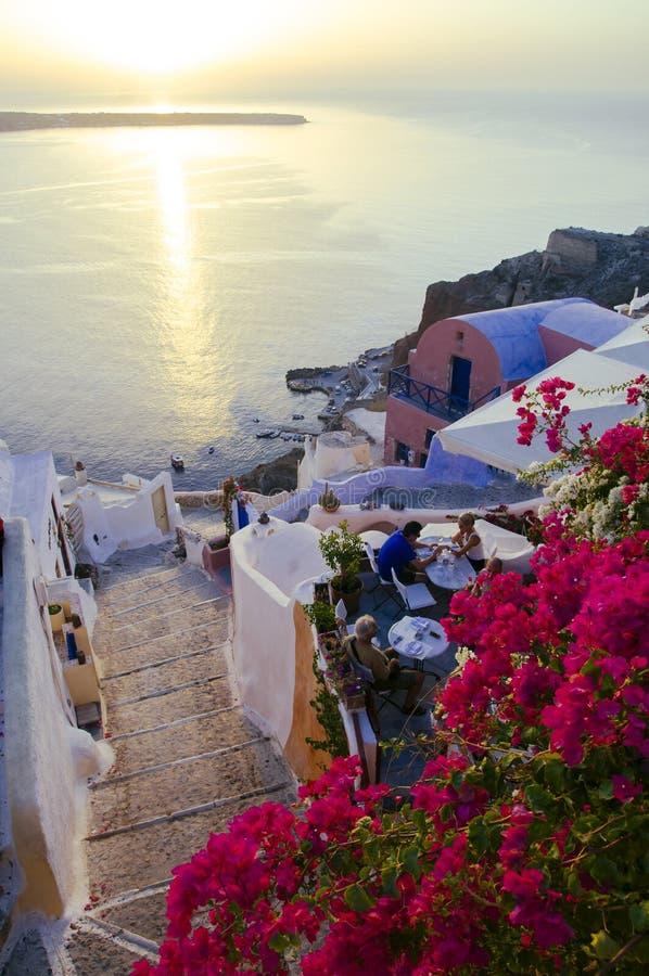 圣托里尼海岛旅行目的地和风景 库存图片