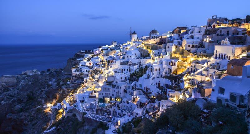 圣托里尼海岛,希腊夜景  库存图片