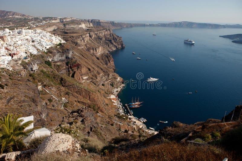 圣托里尼海岛,破火山口视图,城市锡拉Fira 免版税库存照片