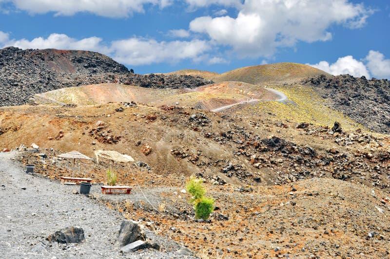 圣托里尼火山在希腊 库存图片