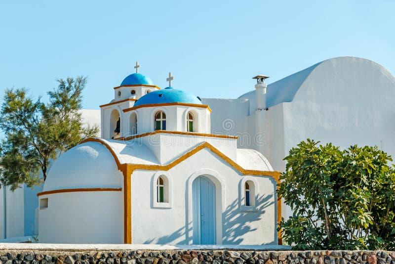 圣托里尼的微小的希腊教会 图库摄影