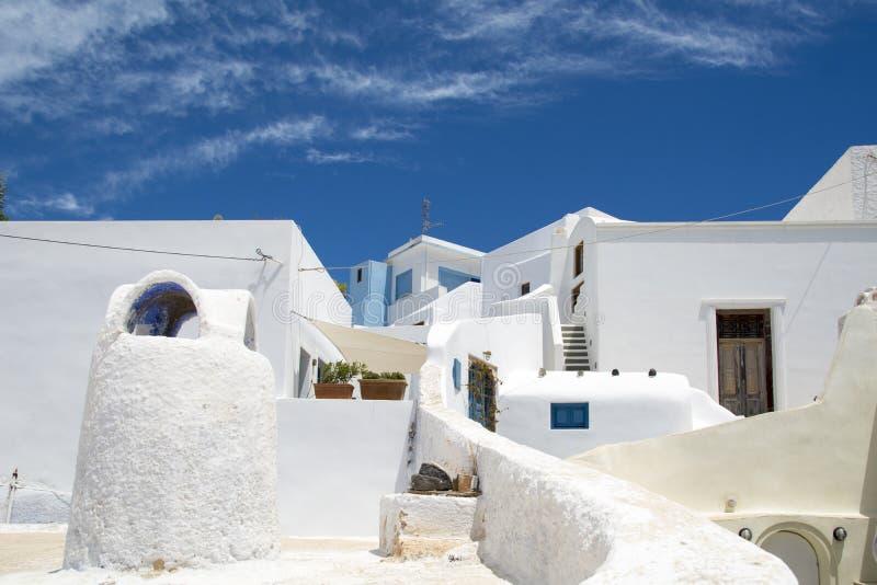圣托里尼的白色房子 免版税图库摄影