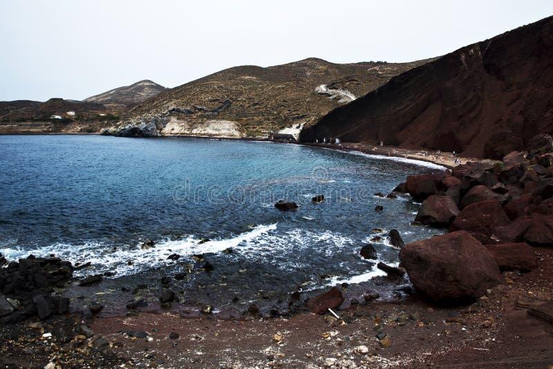 圣托里尼的红色海滩 免版税库存图片