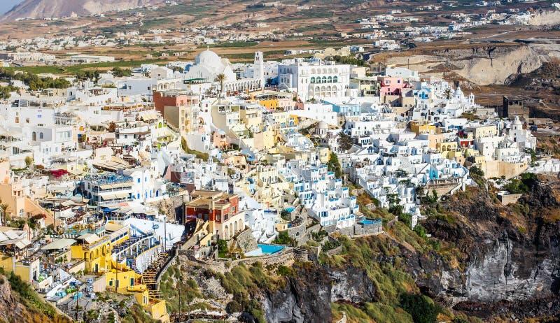 圣托里尼,希腊惊人的看法  免版税库存照片