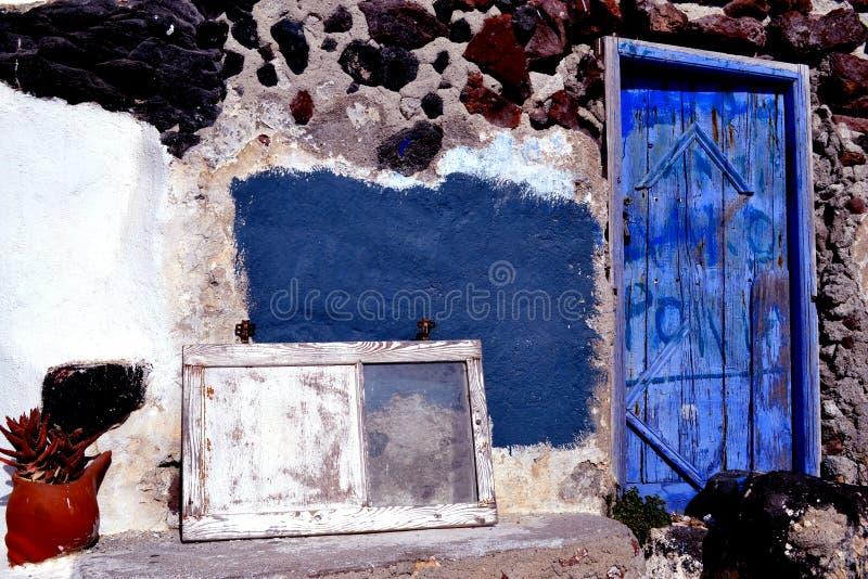 圣托里尼,门 免版税库存图片