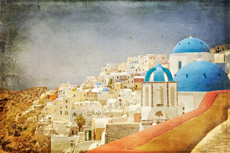 圣托里尼建筑学被称呼的葡萄酒纸 库存照片