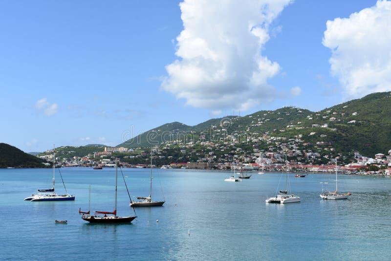 圣托马斯港口视图 免版税库存照片